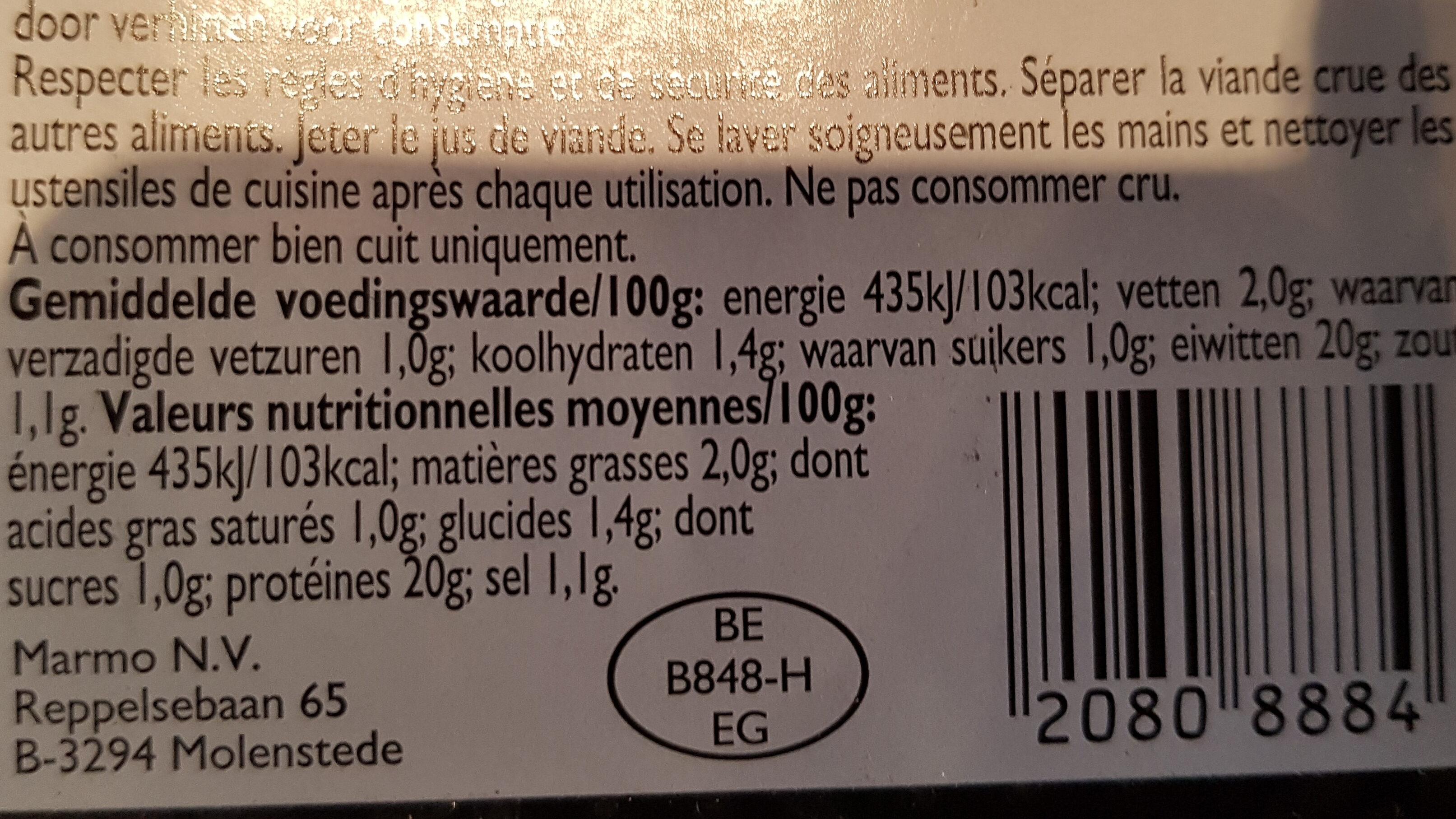 Émincé de poulet - Informations nutritionnelles - nl