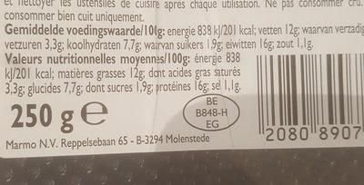 Burger de poulet fromage - Voedingswaarden - fr