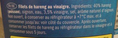 Filet de hareng au vinaigre - Ingrédients - fr