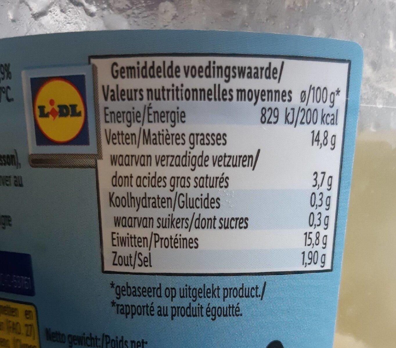 Filet de hareng au vinaigre - Informations nutritionnelles - fr
