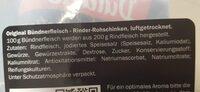 Dulano Selection Alpen Original Schweizer Bündnerfleisch - Ingrédients - de