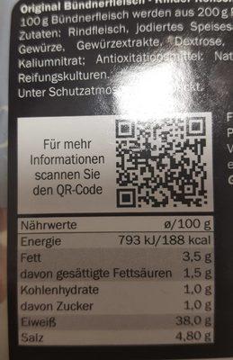 Dulano Selection Alpen Original Schweizer Bündnerfleisch - Informations nutritionnelles - de