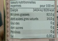 Huile d'olive vierge extra - Informations nutritionnelles - de