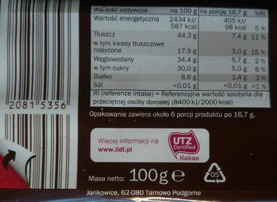 Chocolat noir noisette - Informazioni nutrizionali