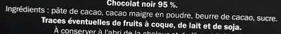 Chocolate negro Lidl 95% cacao - Ingredientes