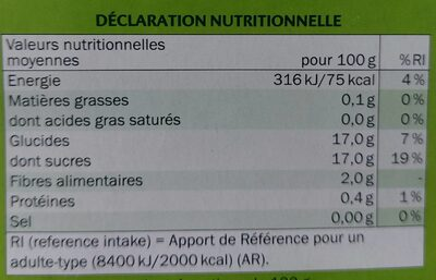 Compote Pomme Rhubarbe - Informations nutritionnelles - fr