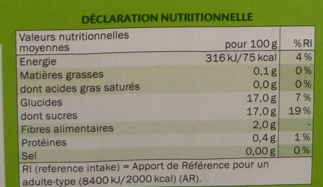 Compote Pomme Rhubarbe - Informations nutritionnelles