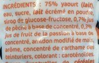 Mil'Wep Saveur Pêche Passion - Ingrediënten - fr