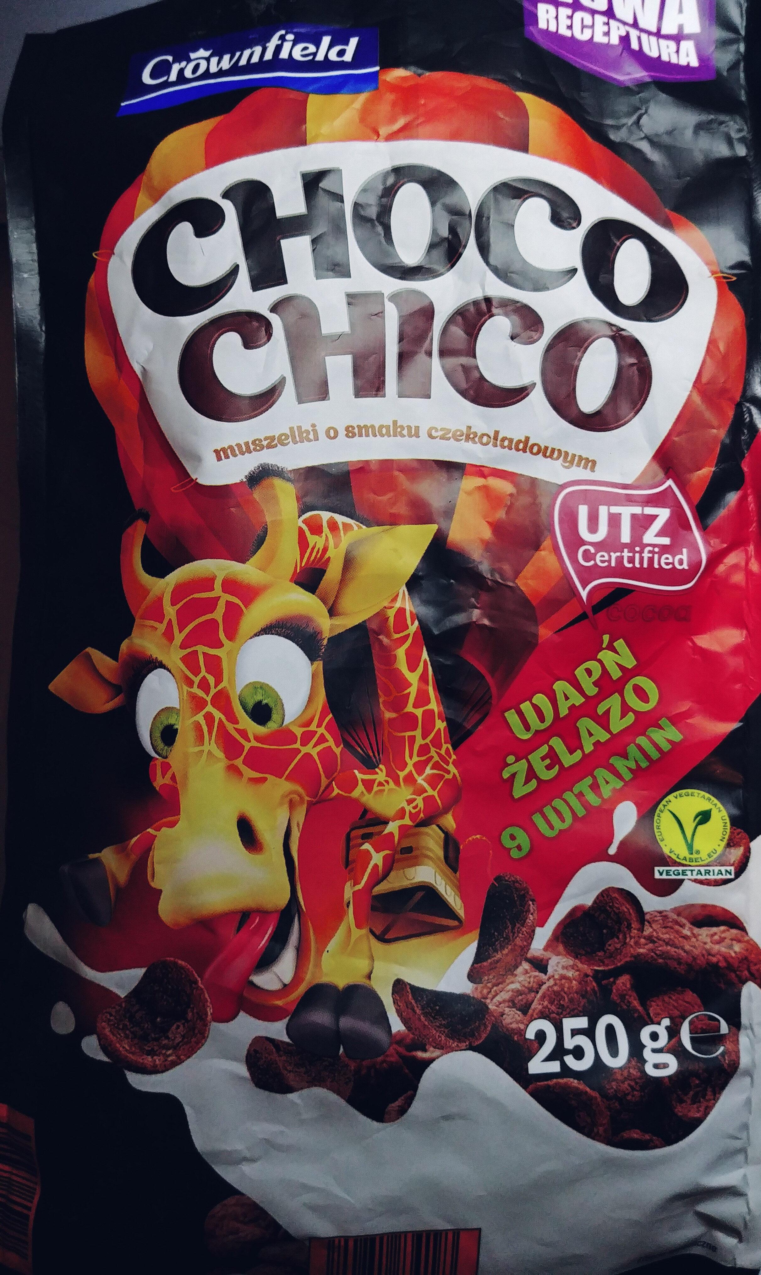 Muszelki zbożowe o smaku czekoladowym wzbogacone w 9 witamin, wapń i żelazo. - Produkt