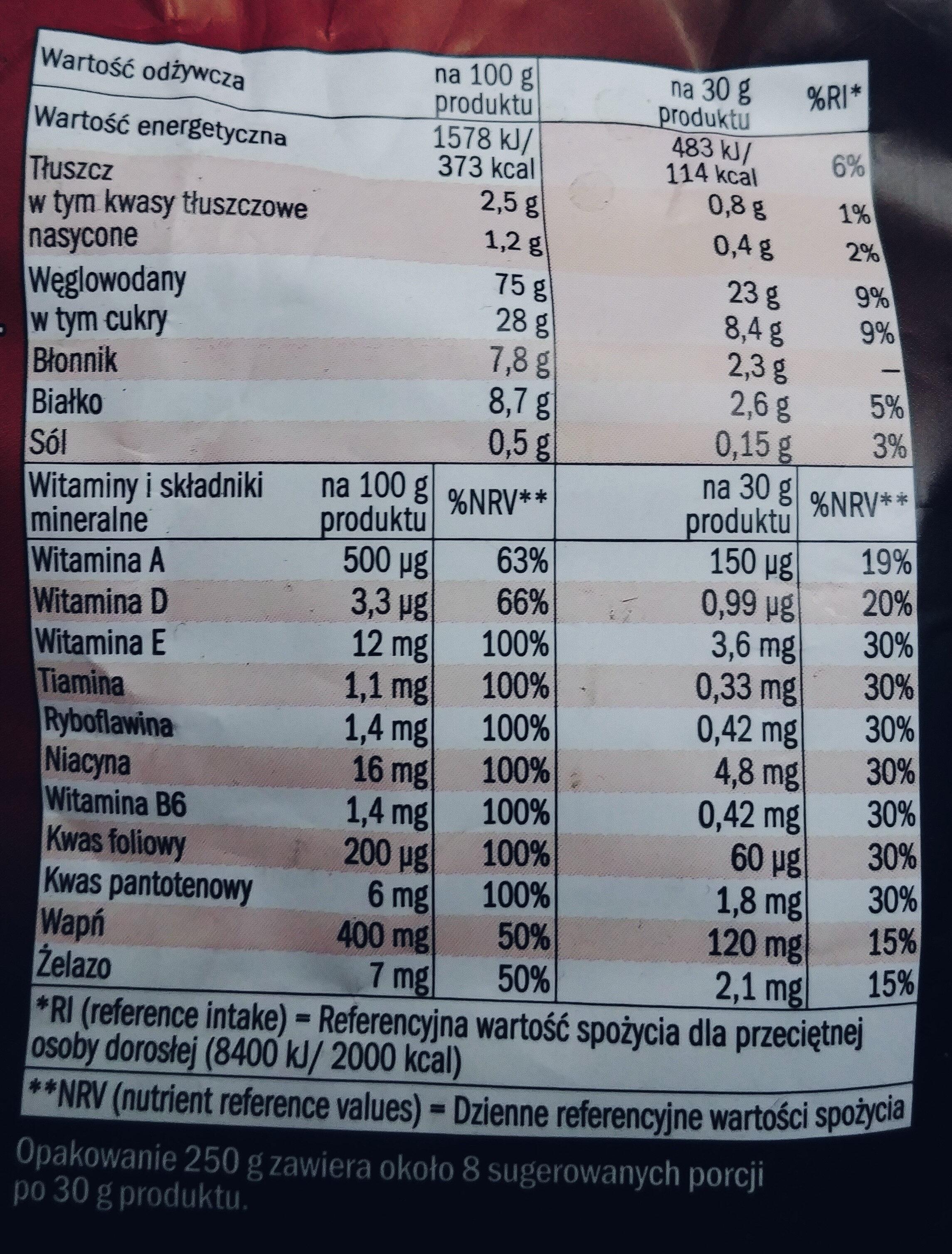 Muszelki zbożowe o smaku czekoladowym wzbogacone w 9 witamin, wapń i żelazo. - Wartości odżywcze