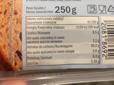Pain complet sans gluten - Informação nutricional - pt