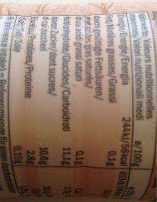 Yogurt mango & vanilla - Información nutricional