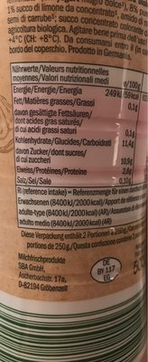 Bio Yogurt Drink, Raspberry & Lemon - Información nutricional - fr