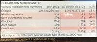 Panna cotta al lampone - Informations nutritionnelles - fr