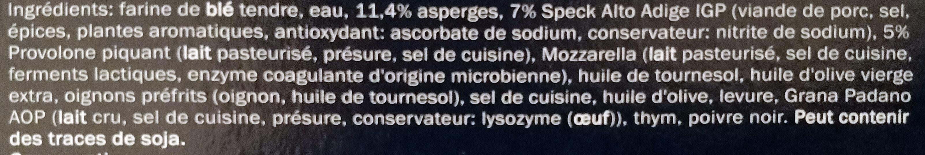 Pizza Crème d'asperge, Provolone et Speck - Ingrédients - fr
