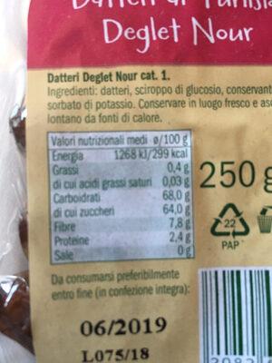 Datteri di Tunisia - Informazioni nutrizionali - it