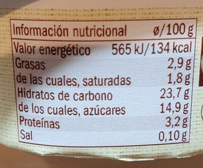 Arroz con leche - Información nutricional