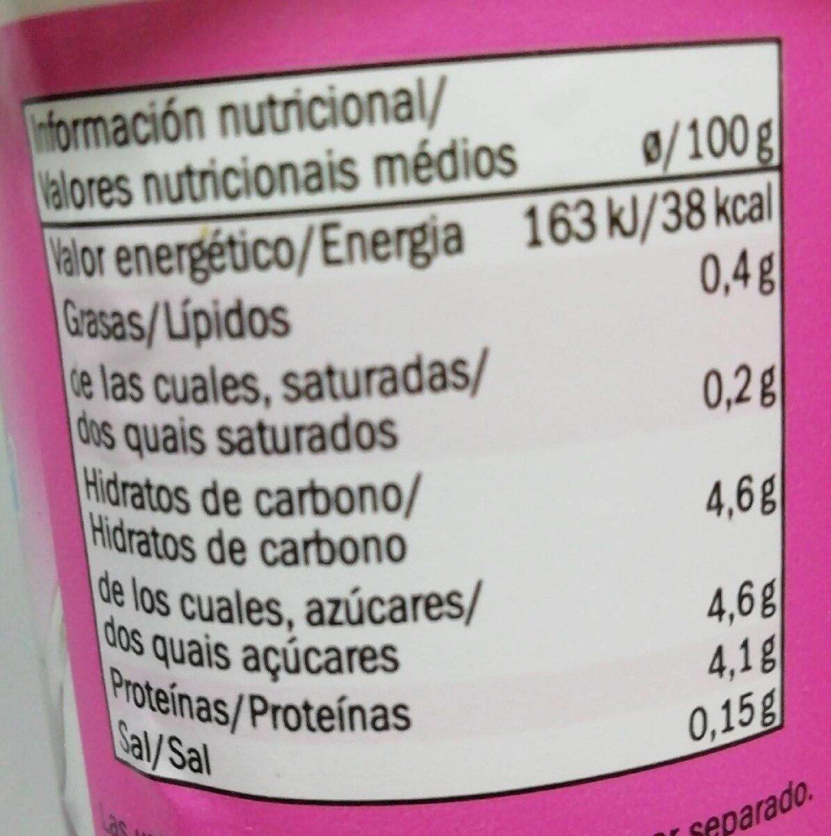 Linea natural 0 % - Información nutricional