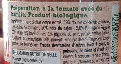 Bio Pesto Rosso - Složení - fr