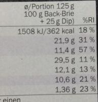 back brie spitzen - Nutrition facts