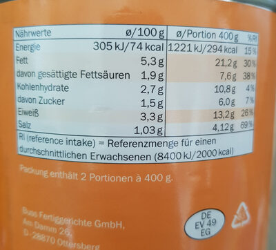 Möhren - Topf - Nutrition facts