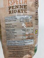 Espelta Penne Rigate - Informations nutritionnelles