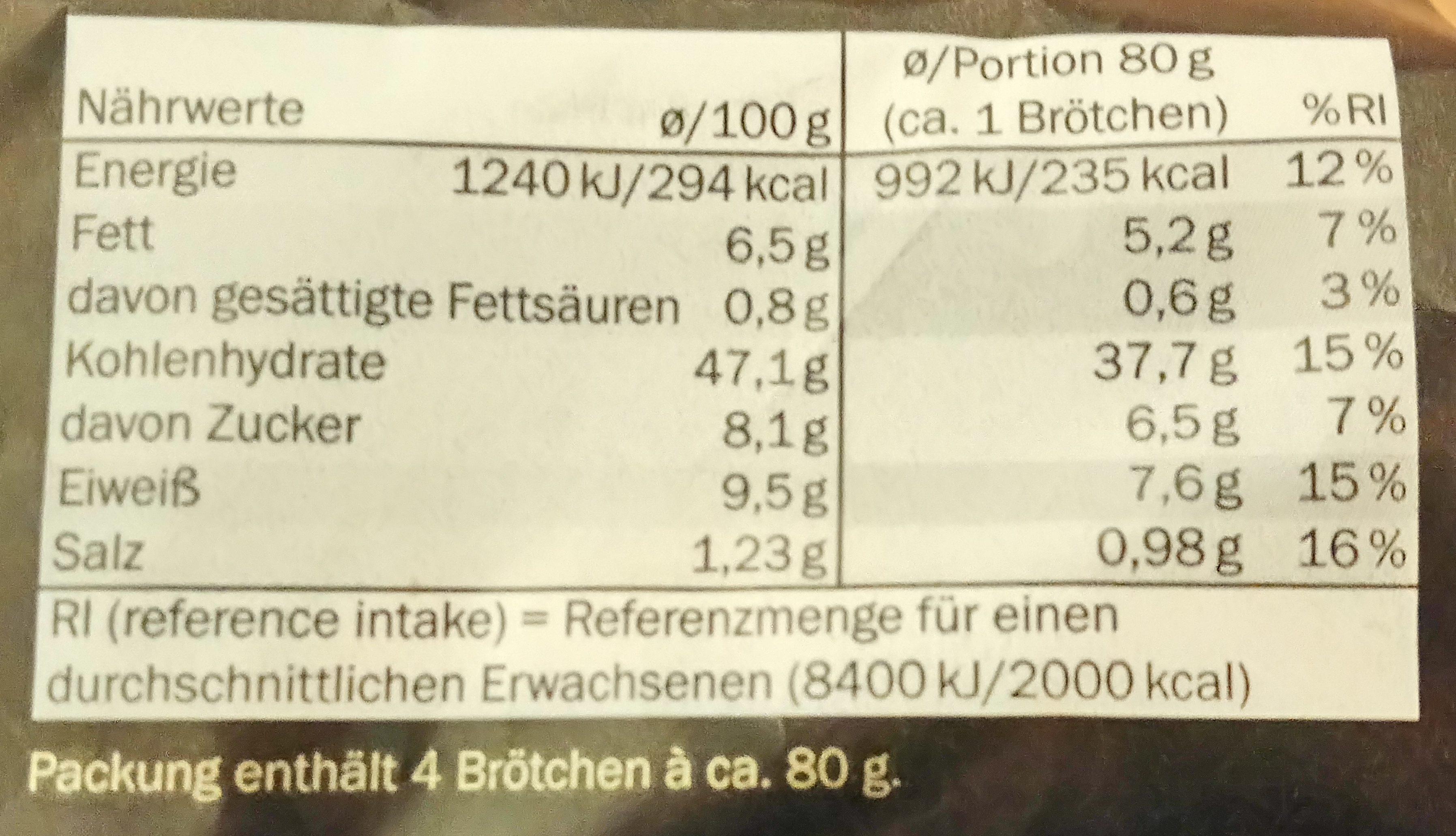 4 burger bruns multigrain - Informations nutritionnelles - de