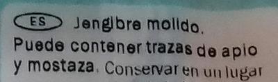 Jengibre molido - Ingredientes