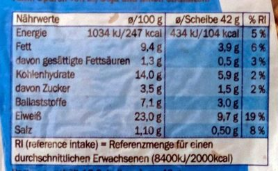 Eiweiß Brot - Nährwertangaben - de