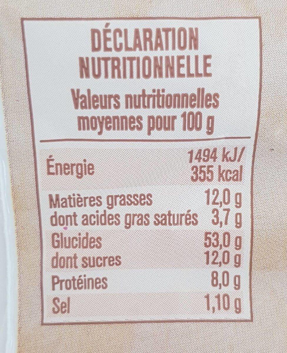 Brioche tranchée  au levain - Informations nutritionnelles - fr