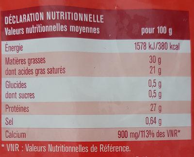 Emmental français Râpé - Voedingswaarden - fr