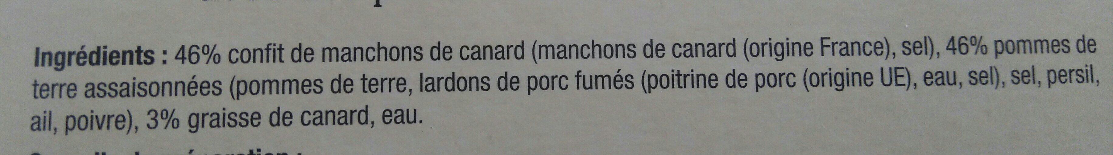 Confit de canard et pommes de terre à la Sarladaise - Ingrédients - fr