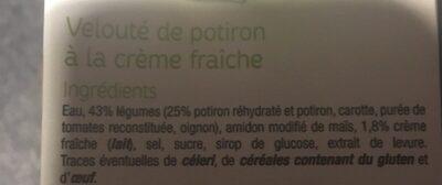 Velouté de Potiron à la Crème Fraîche - Ingrédients