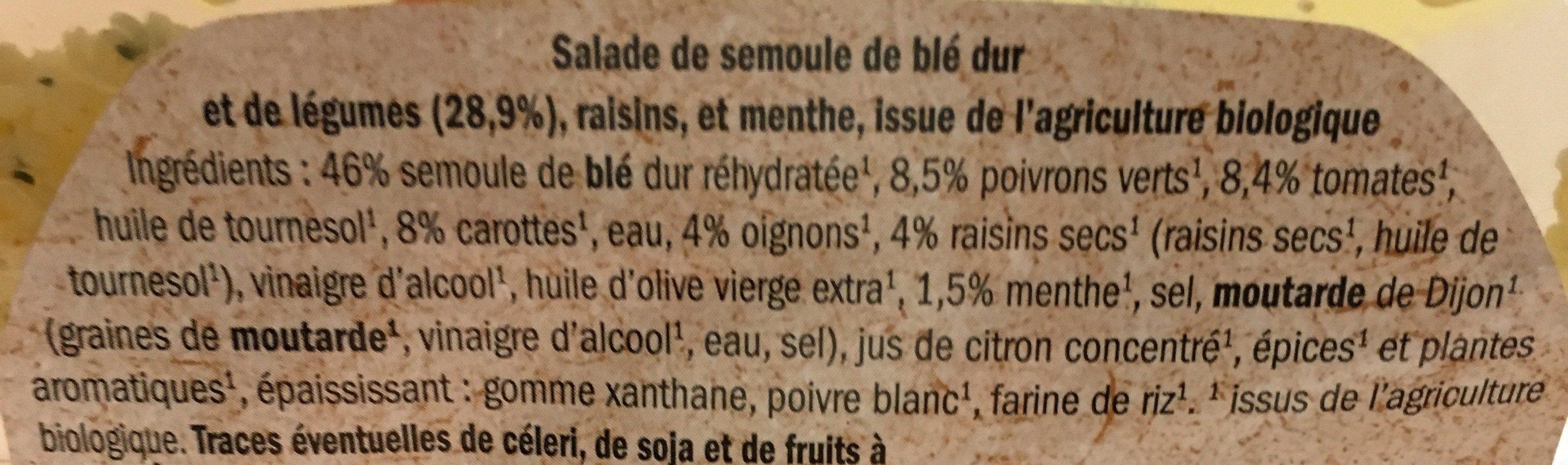 Taboule aux légumes bio - Ingrédients - fr