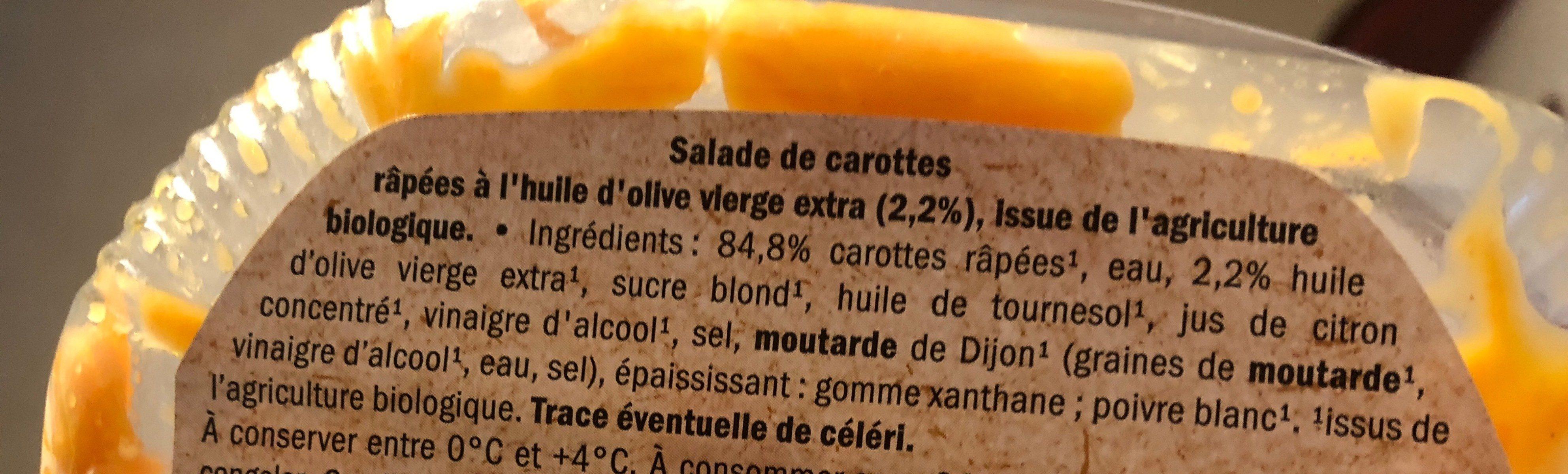 Bio carottes râpées - Ingrédients - fr