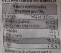 Fourme d'Ambert - Informations nutritionnelles - fr