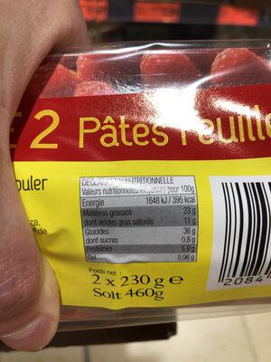 Pate feuillete - Informations nutritionnelles - fr