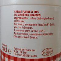 crème fleurette entière fluide 50cl - Ingrédients
