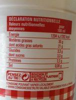 crème fleurette entière fluide 50cl - Informations nutritionnelles
