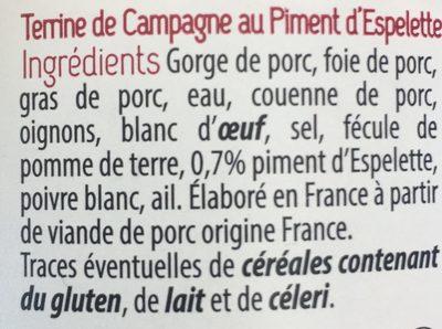 Terrine De Campagne au Piment d'Espelette - Ingrédients