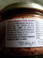 Terrine De Campagne au Piment d'Espelette - Informations nutritionnelles