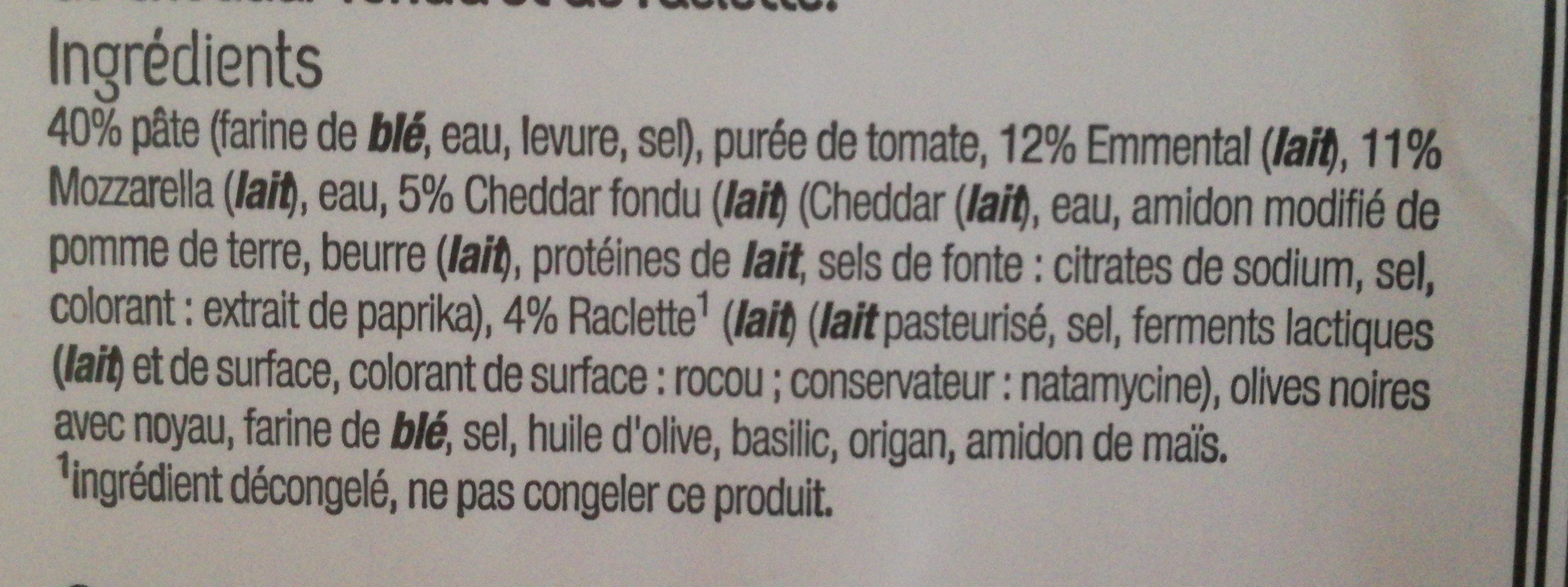 Pizza 4 fromages - Ingredients - fr