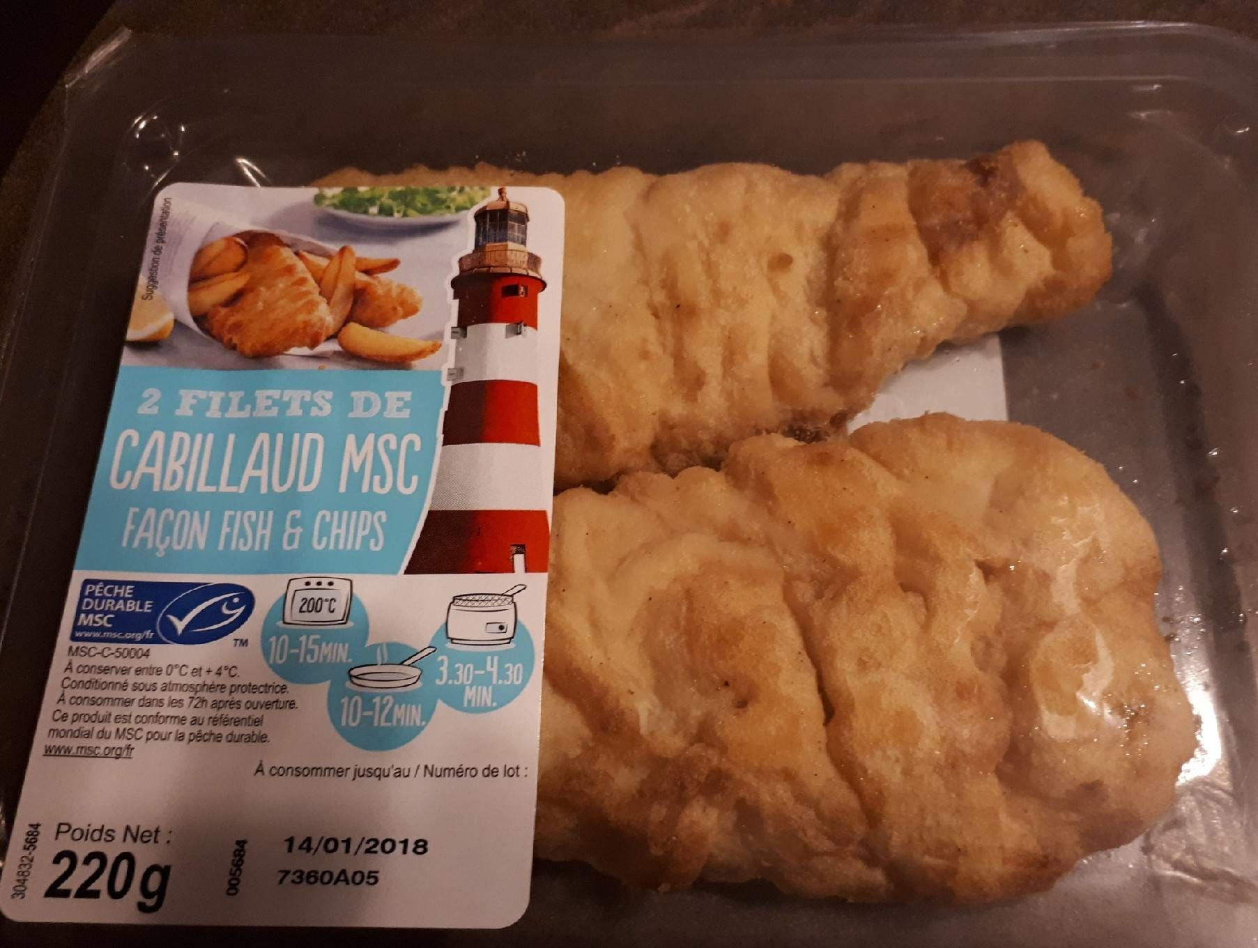 2 filet de cabillaud msc fish&ships - Produit - fr