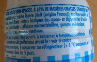 Crème Légère 18% semi-epaisse - Ingrédients