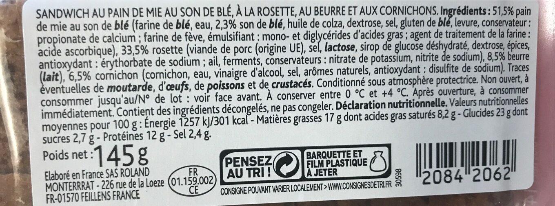Club sandwich cornichons rosette - Informations nutritionnelles - fr