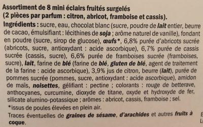 Mini Éclairs Fruités - Ingredients
