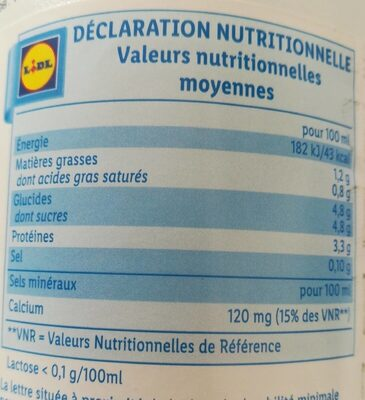 Lait Facile à digérer - Nutrition facts - fr