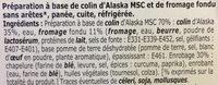 2 petits poissons panés au fromage fondu Colin d'Alaska MSC - Ingredients