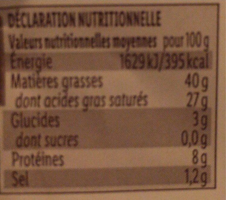 Brillat Savarin - Voedingswaarden - fr