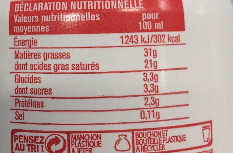 Crème Fleurette Entière Octueuse 30% - Voedingswaarden - fr